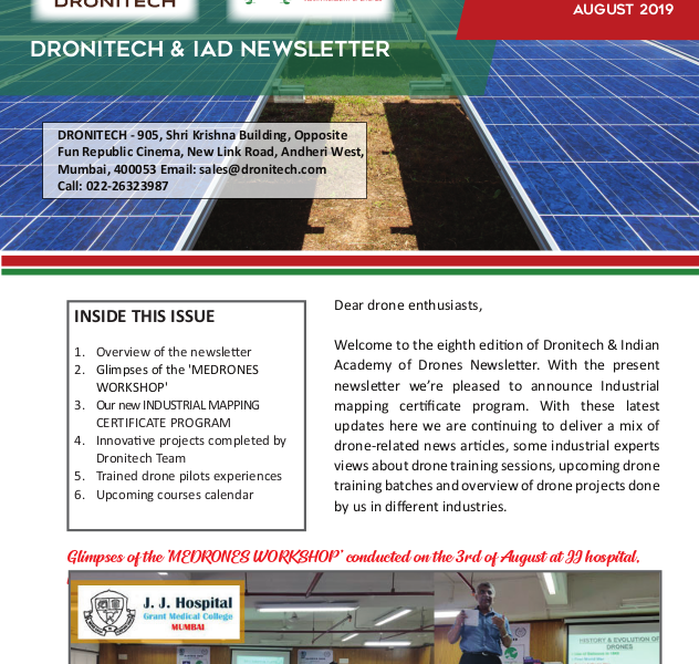 Dronitech and IAD Newsletter - August 2019